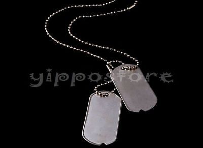 Dog Tags Chain (U.S. Military Spec Army WWII Blank Dog Tags Set w/ Stainless Steel)