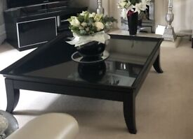 Large Square Black Lacquered Coffee Table