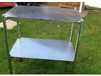 Stainless steel catering trolley with removable shelves