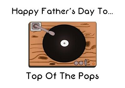 Dad Top Of The Pops Record Player Father's Day Card Vinyl Records Music Pop (Best Vinyl Record Player)