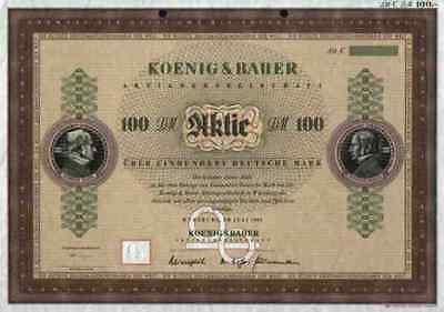 KOENIG & BAUER AG 1983 Würzburg Mödling Frankenthal 100 DM RARE Blankette DEKO