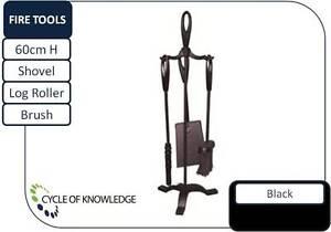 Fireplace-3-Tool-Set-Steel-Black-Shovel-Brush-Log-roller-poker-60cm-H