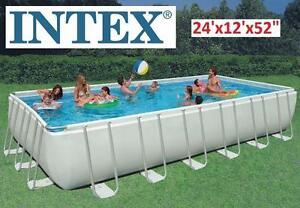 "NEW INTEX 24'x12'x52"" RECTANGULAR ULTRA FRAME POOL RECTANGULAR STEEL ULTRA FRAME POOL SET 101137842"