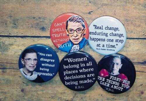 "Ruth Bader Ginsburg button set, Lot of 5-1.25""  Supreme Ginsburg Quotes, RBG"