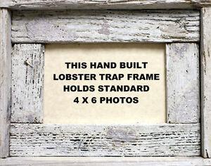 4-x-6-Lobster-Trap-White-Wash-Wood-Horizontal-Picture-Frame-Nautical-Art-Print