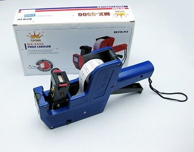 New Mx-5500 8 Digits Price Tag Gun Labeler Labeller Stickers Label Paper 2 Ink