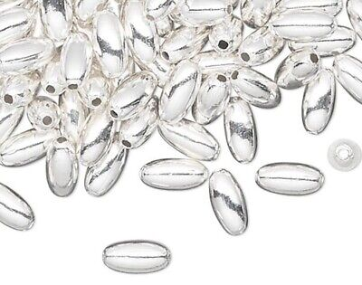100 Silver Plated Brass 4x2mm OVAL Spacer Beads