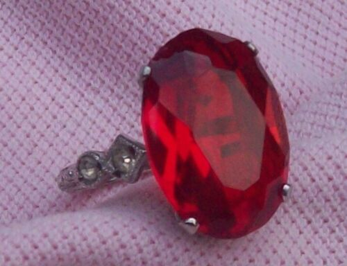 Vintage Antique Art Deco Sterling Silver Big Ruby Glass RS Cocktail Ring Size 5