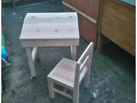 Wooden childrens desk and chair