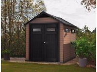 KETER FUSION Composite Garden Shed (Wood & Plastic) 7ft6 x 9ft6 2.3m x 2.9m, PREMIUM LINE RRP £1100