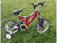 "Kids bike 16"" with stabilisers full suspension"