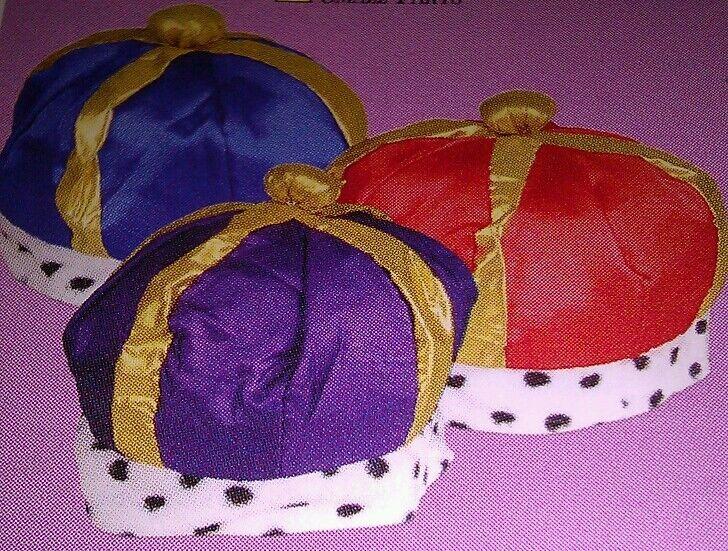 1 King Queen Crown Velvet Hats Halloween Birthday Party School Plays