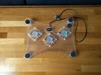 USB Blue LED Light 3 Fan Cooler Cooling Pad Stand