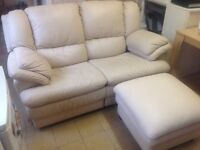 John Lewis cream leather two seater sofa and footstool