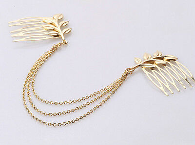 Greek Roman Costume Toga Party Gold Leaves Hair Chain Comb Claw - SHIPS FAST!