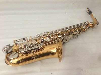 Professional Gold Alto Saxophone With Silver Plated Key Sax