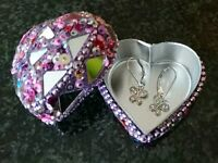 Silver & Swarovski crystals, Baby Safe, girls earrings, brand new