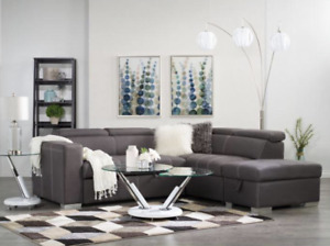 SECTIONAL SOFA COUCH BED WITH FLOATING OTTOMAN & HEADRESTS