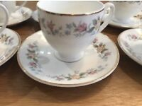 2 sets of vintage china (4+6 cups and matching saucers)