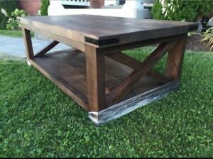 Rustic X-style Coffee Table CUSTOM made! Pottery Barn style