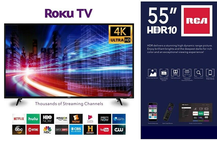 55 Inch Smart TV 4K HD Super High Definition Remote ROKU Internet Enabled Big