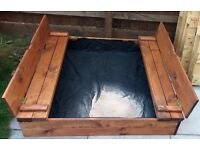 Sand pit sand box wooden chestnut impregnated fodlable with seats and cover NEW