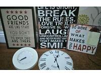 Bundle living room quote canvas/pictures and clocks