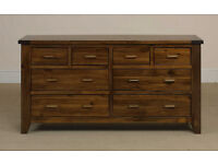 Rustic Acacia Wood 8 Drawer Wide Chest