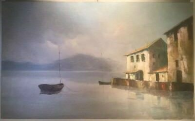 Lovely Original Oil Painting on Canvas Signed R. WITCHARD: Lake & Mountains