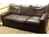 BROWN LEATHER SETTEE FOR SALE 3 SEATER