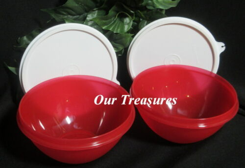 Tupperware New Set 2 Small 3 Cup Wonderlier Bowl Bright Holiday Red w White Seal