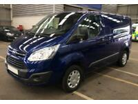 2015 BLUE FORD TRANSIT CUSTOM 2.2 TDCI 125 290 SWB TREND CAR FINANCE FR £50 PW
