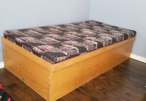 SOLID WOOD BOX BED  - $100