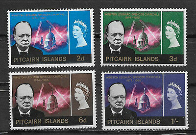 PITCAIRN ISLANDS , CHURCHILL , 1966 , SET OF 4 STAMPS , PERF , MNH , CV$16.00
