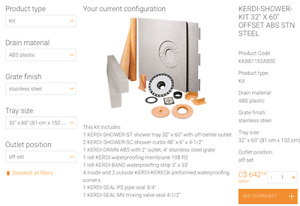 "Schluter Kerdi shower kit 32""x60"" new"
