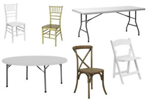 Tables, wedding chairs, chiavari chairs crossback chairs Vic