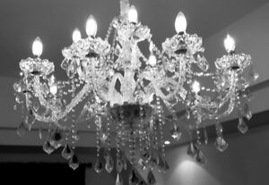 LUMINAIRE LUSTRE CRISTAL CHANDELIER 2 STORY 15 LIGHTS