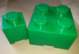 Two Green Lego Brick Containers