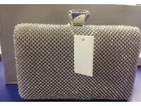 Silver Evening Diamante Hand Bag Beads Evening Clutch Purse Party Wedding Prom