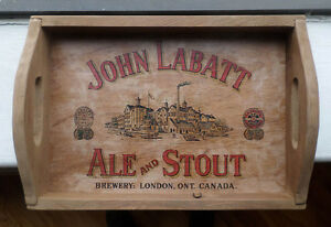Plateau de bar en bois John Labatt Ale and Stout, Beer wood tray