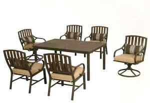 NEW - Hampton Bay 7pc Dining Set w 11ft Solar Umbrella