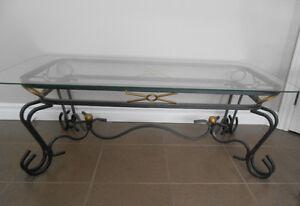 3 belle tables de salon en fer forgé et dessus en verre