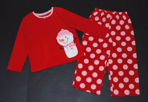 Lovely Carters SNOWMAN Polka Dotted FLEECE PJs 2 pc set MINT