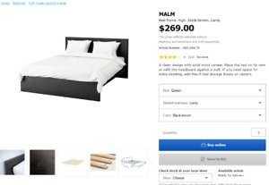 IKEA MALM Bed Frame (Queen low version)
