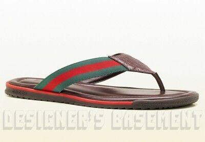 GUCCI mens 7.5G brown Guccissima SL73 BEACH WEB Thong FLIP-FLOP sandal NIB Auth