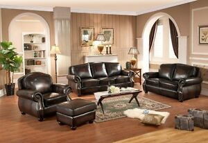 Top grain leather 3 piece set, hand rubbed with nailhead, comfy