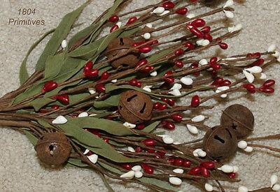 "12"" Pip Berry Stem Bunch w/Rusty Tin Bells - RED & CREAM"