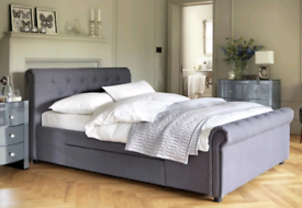 Newbury double two drawer bed in grey