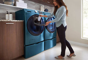 Samsung White Front Load Washer Dryer Set - Stackable.