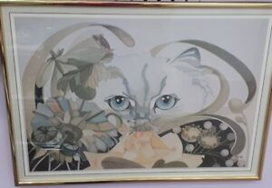 Framed and Signed  - Abstract Cat Artwork